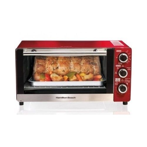 Red Toaster Oven Bake Broil Convection Kitchen Countertop Timer Auto Shut Off