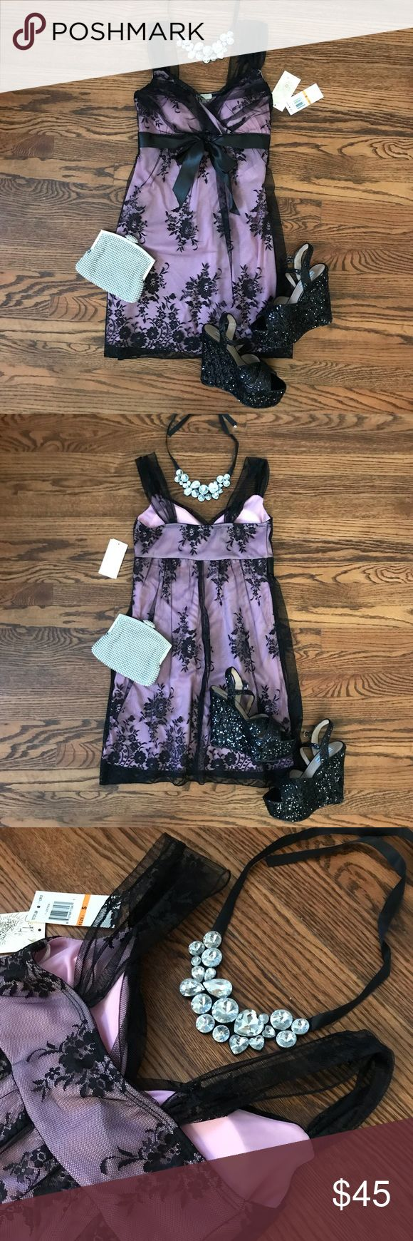1 HR SALE! NWT Sequin Hearts Lace Dress- sz S NWT pink and black lace dress by Sequin Hearts. Soft pink cloth lining with sheer black lace overlay, lace straps, ribbon bow, and light padding to the bust. Gorgeous dress listed just in time for Valentine's Day! Black sequin Steve Madden wedges, silver clutch, and rhinestone bib necklace are also for sale in my closet- bundle to save! All offers welcome! Sequin Hearts Dresses Mini
