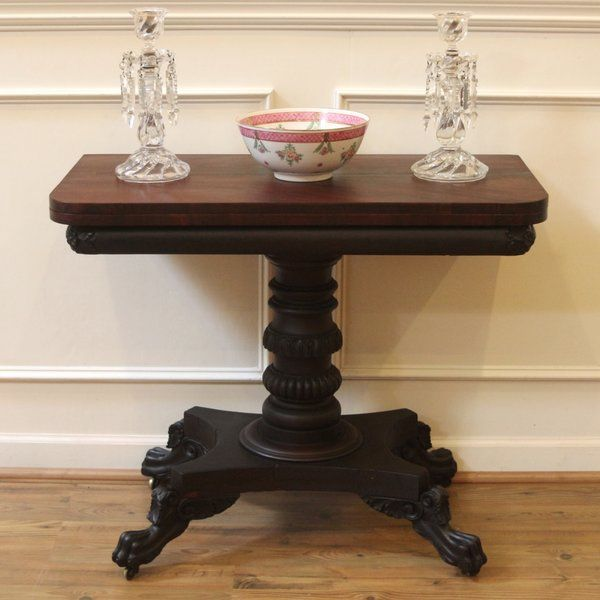 Antique American Century Mahogany Fold Top Card Table With Carved Griffin Paw Feet