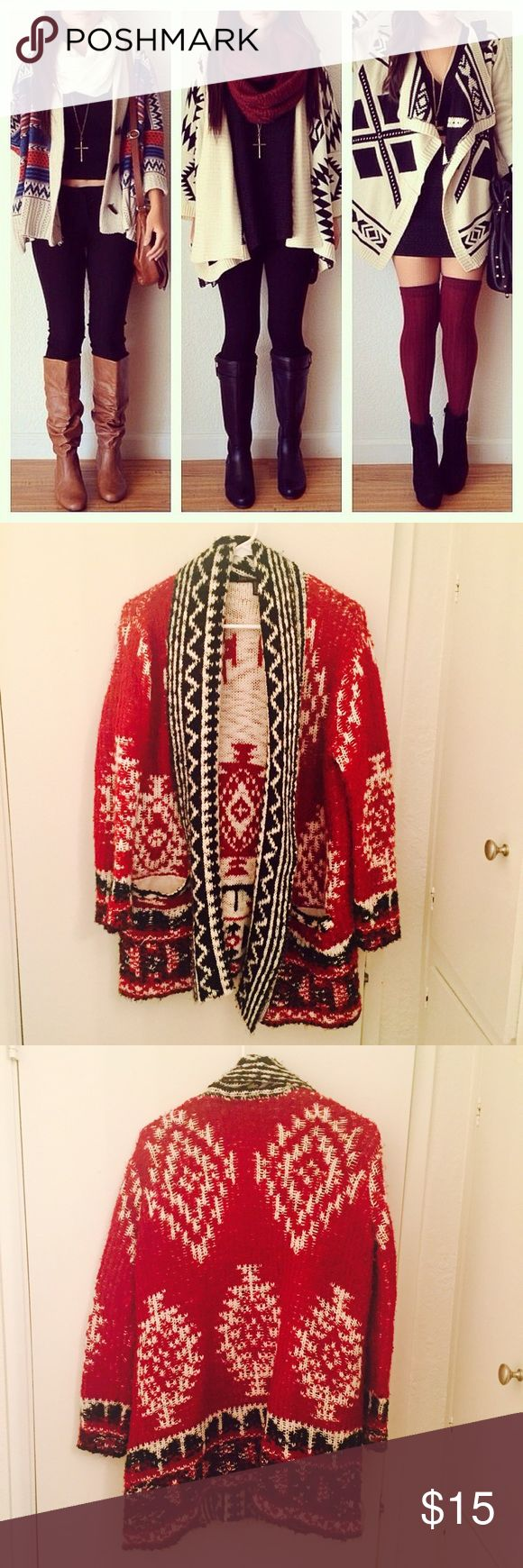 Oversized Tribal-inspired cardigan Super thick, comfy and warm. Perfect for Fall and winter with thigh high boots and a dress or skinny jeans and ankle boots. Great condition. Worn a few times. First pic for style ideas. Forever 21 Sweaters Cardigans