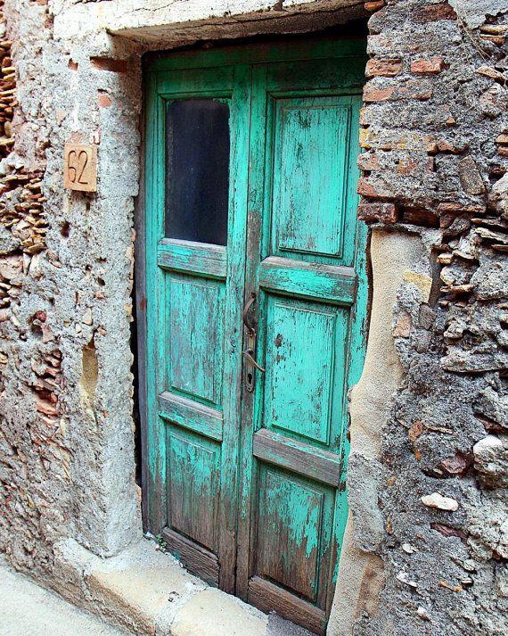 Turquoise Decor  Aqua Door Photograph  Sicily Italy by VitaNostra, $45.00