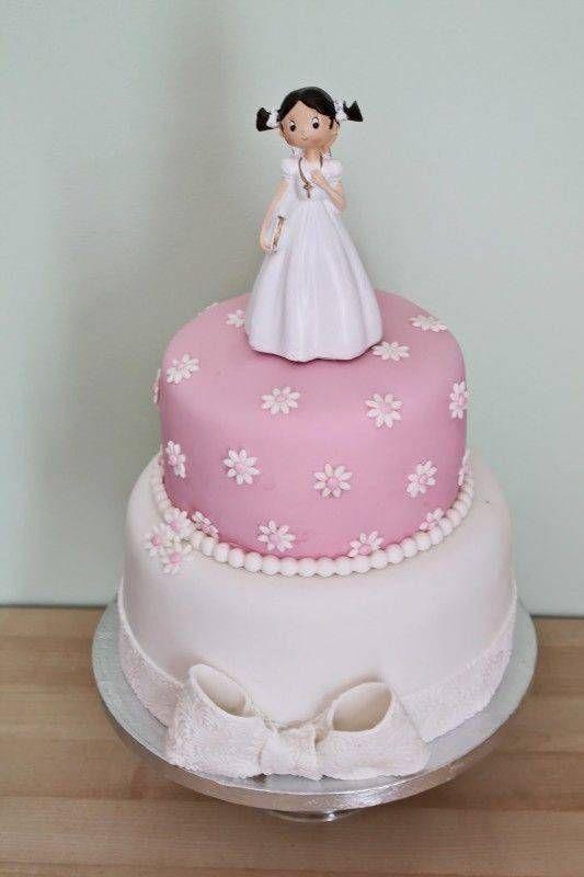 torta sencilla o simple para primera comunion de niña
