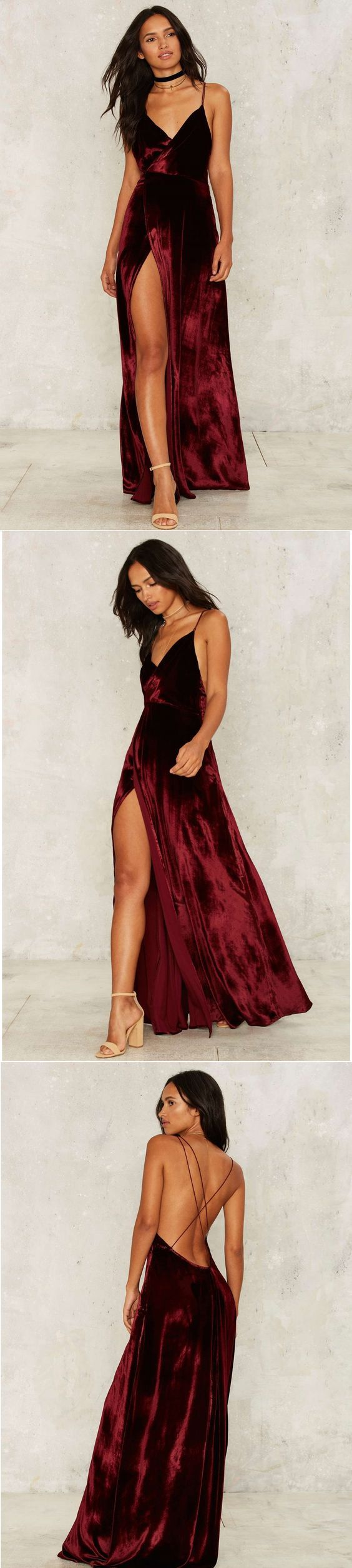 Modest Prom Dress,2017 New Prom Dress,Long Prom Dresses,Burgundy Evening Dress,Sexy Spaghetti Straps Slit Evening Dress