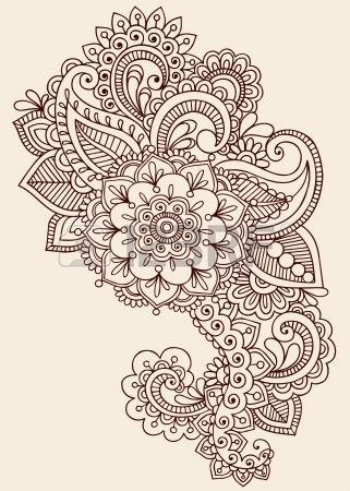 Henna Paisley Flowers Mehndi Tattoo Doodles Design- Abstract Floral  Stock Vector