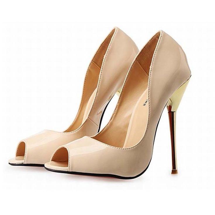 Plus größe neue 2016 frauen sexy offene spitze high heels mode lackleder peep toe sommer pumpen mit hohen absätzen parteihochzeitsschuhe //Price: $US $68.40 & FREE Shipping //     #abendkleider