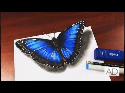 Dibujando una Mariposa Roja en 3D - YouTube