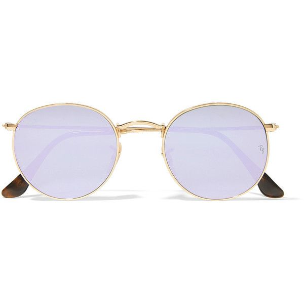 Ray-Ban Round-frame gold-tone mirrored sunglasses (535 BRL) ❤ liked on Polyvore featuring accessories, eyewear, sunglasses, glasses, lilac, retro mirror sunglasses, retro mirrored sunglasses, ray ban sunglasses, mirrored lens sunglasses and round mirrored sunglasses