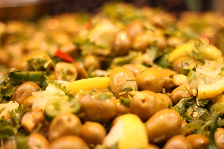 Marinated olives in Mahne Yehuda open market - Jeruaslem, Israel