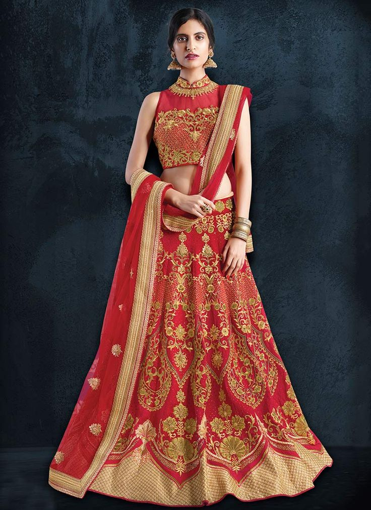 Buy Red Art Silk Umbrella Lehenga Choli online, SKU Code: GHSMVN143. This Red color Wedding umbrella lehenga for Women comes with Sequins  Art Silk. Shop Now!