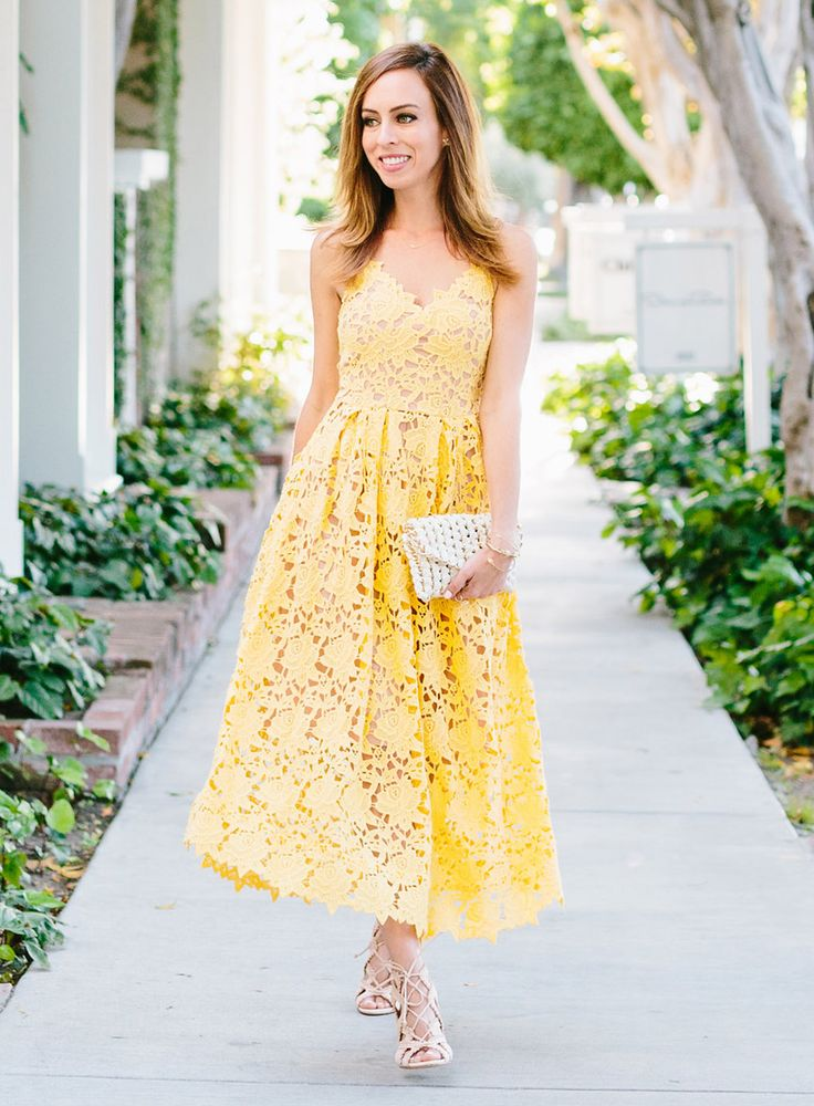 Yellow Lace Dress  Dress: H&M , Bag: Tambonita (get 20% off with code SYDNESTYLE) Necklace: Jennifer Meyer , Earrings: BaubleBar , Bracelets: Stella & Dot and Charming Charlie , Shoes: Schutz Photo by Jodee Debes Fashion Look by Sydne Style