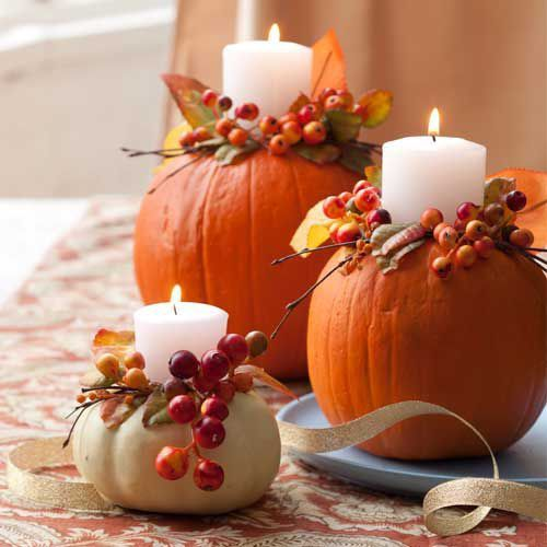 Pumpkin Candleholders - AllYou.com -- use a spade bit on your drill/driver to make a hole for the candles to sit in