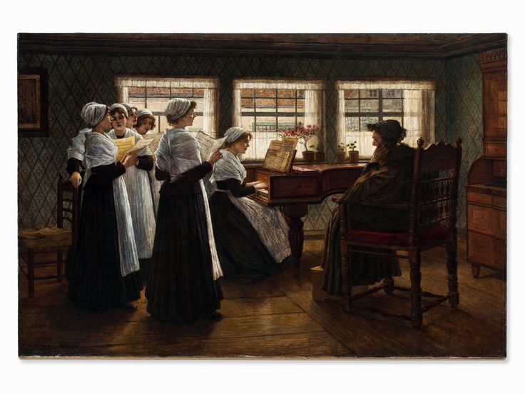 Walter Firle (1859-1929), Gemälde, Morgenandacht, um 1884