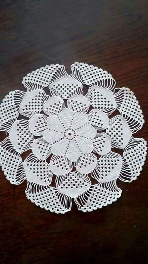 What a cool doily! Crochet.