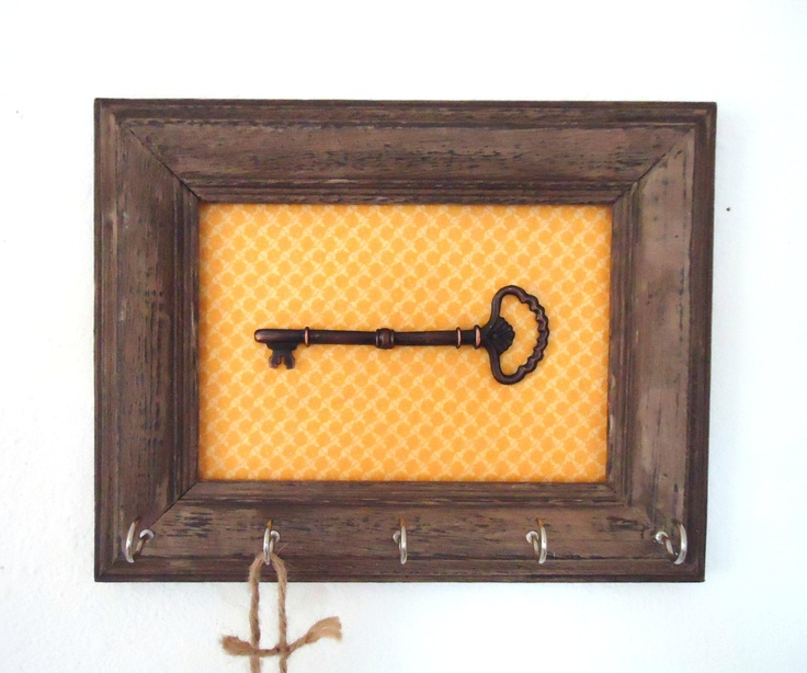 Key Holder-Wall Hook -Organizer French Country Home Decor Vintage Yellow 5 Silver Hooks