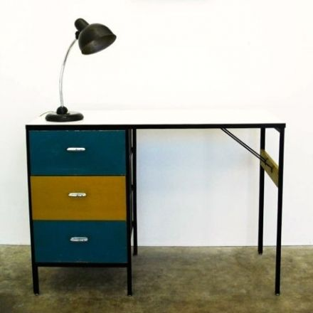 1950's STEEL FRAME GROUP MULTI COLOURED DESK. Designed in 1954 by GEORGE NELSON for Herman Miller U.S.A