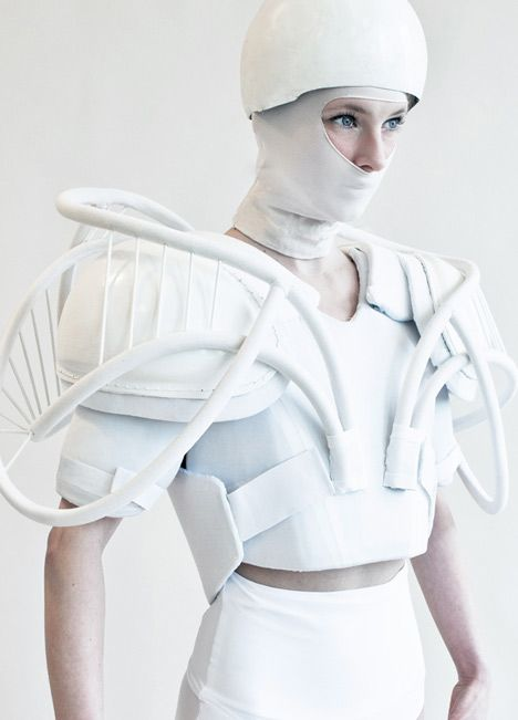 Wearable Art - bold white fashion armour - 3D fashion; conceptual design; sculptural fashion // Julia Krantz