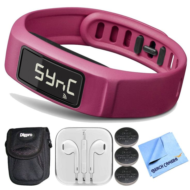 Garmin Vivofit 2 Bluetooth Fitness Band (Pink)(010-01503-03) Bundle - Includes Fitness Band, Button Cell Watch Battery, Noise Isolation Headphones, Carrying Case and 1 Piece Micro Fiber Cloth. All Items are Brand New - Includes Garmin USA Warranty. Garmin Vivofit 2 Bluetooth Fitness Band (Pink)(010-01503-03). 3 Volt Lithium Button Cell Watch Battery ECR1632BP. Ultra-Compact Digital Camera Deluxe Carrying Case. Noise Isolation Headphones, 1 Piece Micro Fiber Cloth.