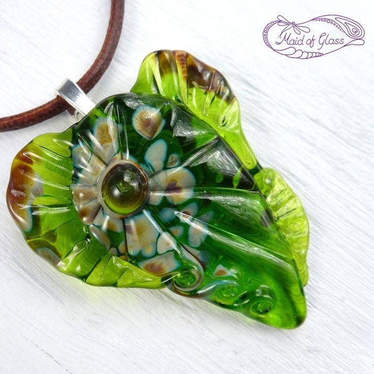 Lampwork #mermaid heart pendant in spring green ~ handmade by www.MaidofGlass.co.uk