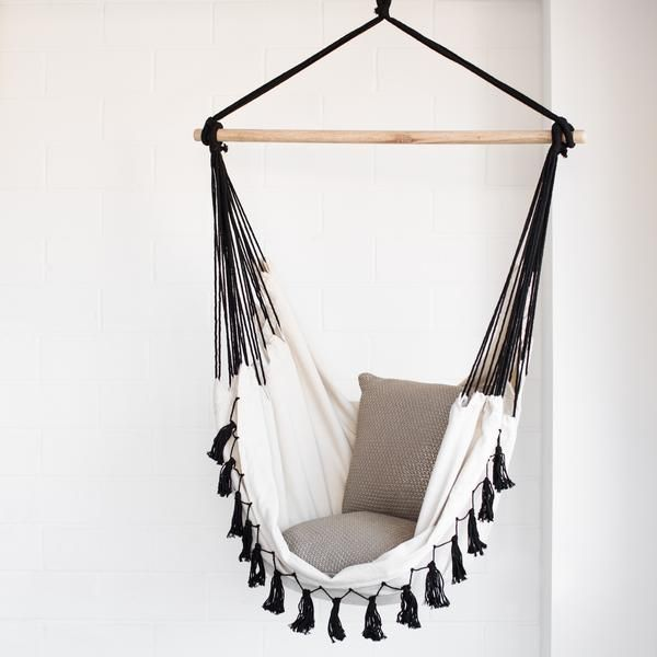 Hammock Chair - Soho Cream with Tassels | Ivory & Deene                         – Ivory & Deene Pty Ltd