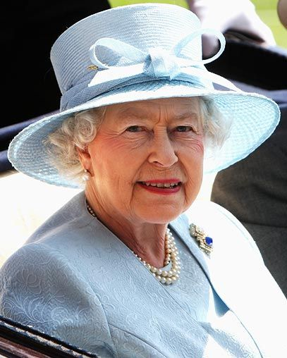 The Queen on Ladies' Day at Royal Ascot: wearing a pastel blue hat by Philip Somerville, a perfect colour match for her Stewart Parvin dress and coat. #Hat #Queen #Royal_Ascot