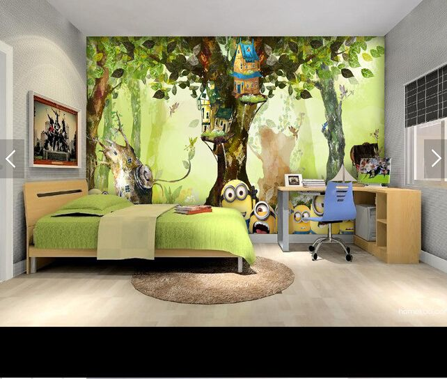 Custom animation wallpaper, forest small yellow man cartoon murals for children's room living room bedroom backdrop wallpaper