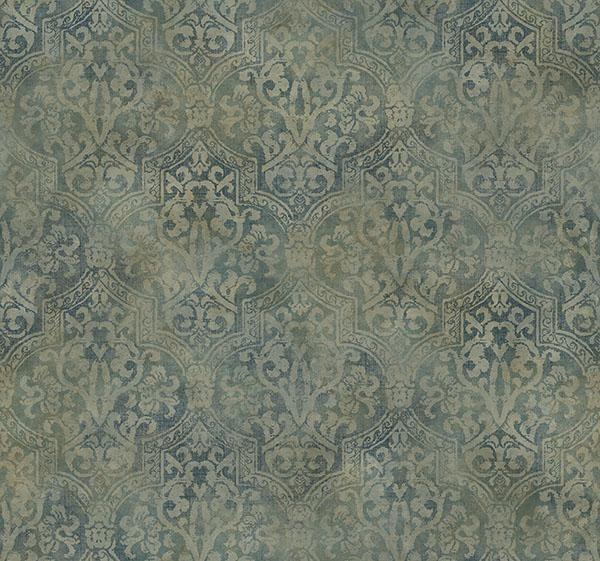 Frederick Teal Quatrefoil Medallion - Wallpaper