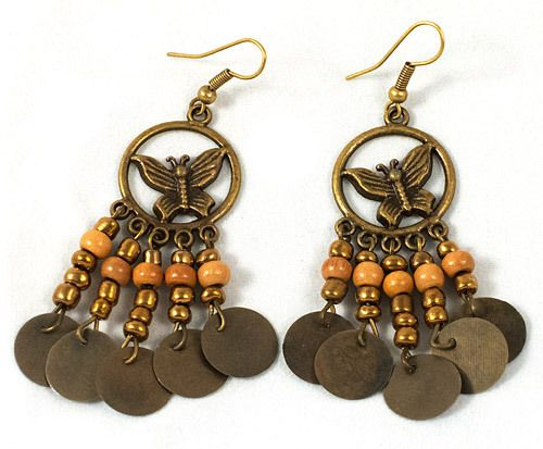 These are beautiful metal earrings with a butterfly pattern. They measure at 7 cm.