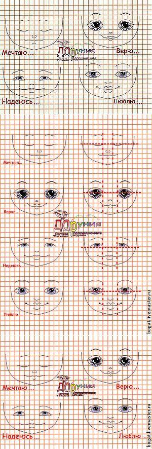 Manual de la cara de la muñeca de dibujo (sentimientos) - Masters Fair - hecho a mano, hecho a mano