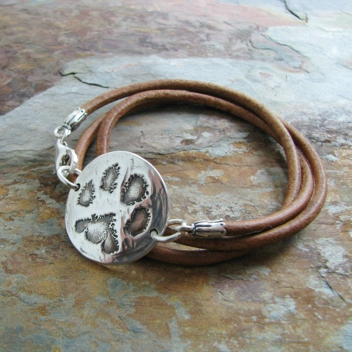 Personalized Silver Pawprint Triple Wrap Leather Bracelet Artisan Handmade Recycled & 86 best PMC Jewelry images on Pinterest | Jewelry ideas Handmade ... Aboutintivar.Com