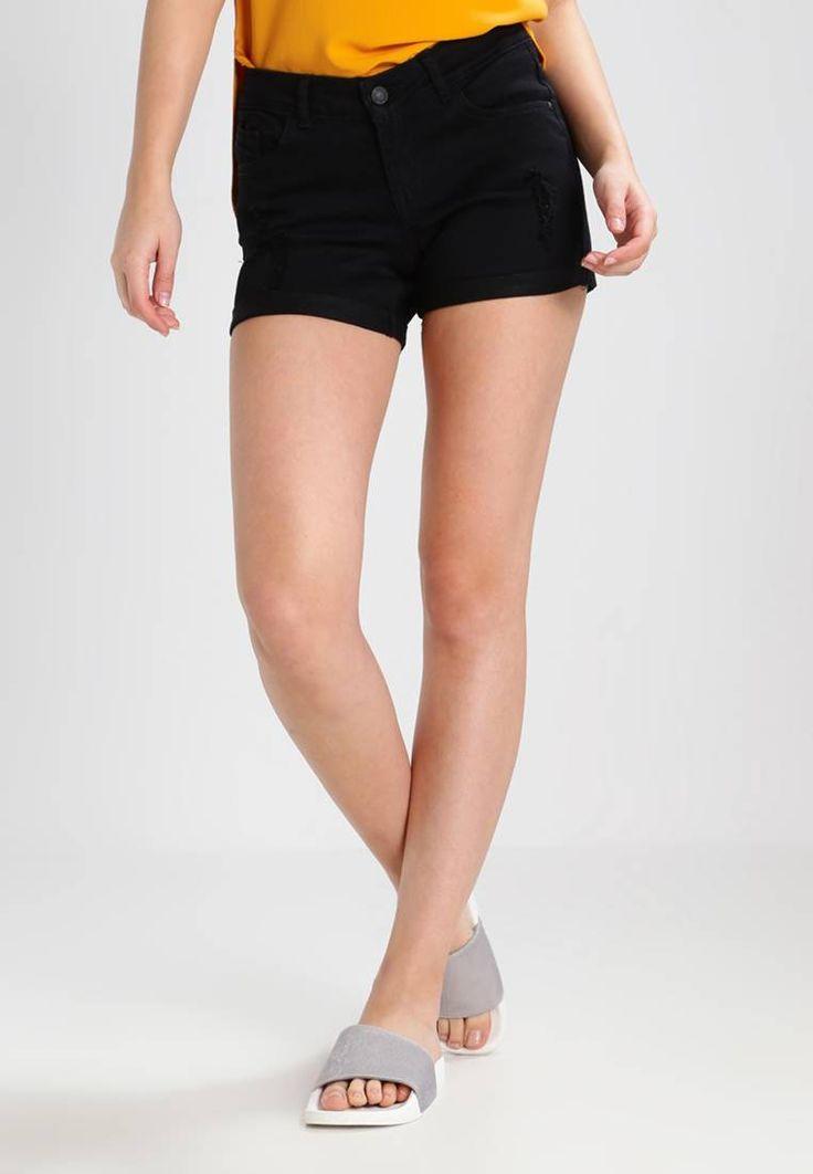 VMBE FIVE - Shorts di jeans - black. #denim #fashion #moda #jeans #giacche di jeans Lunghezza:extra corto. Chiusura:Cerniera nascosta. Tasche:Tasche posteriori,Tasche laterali. Lunghezza interna della gamba:10 cm nella taglia 42. Vestibilità:Normale. Altezza del modello:La persona...