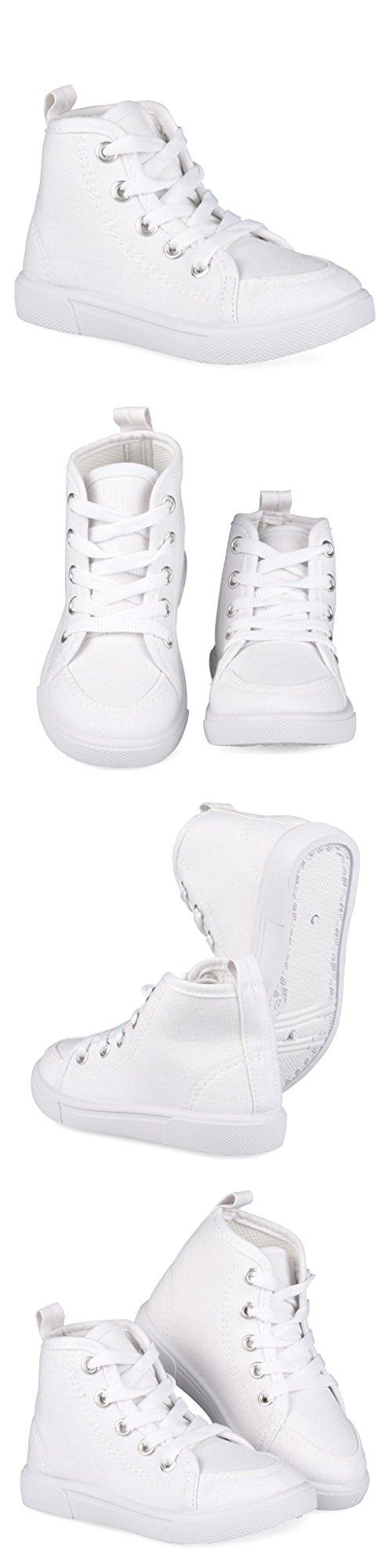 [SAN100-WHT-5] Girls High Top Sneakers: White Canvas Lace Up Shoes, Size 5