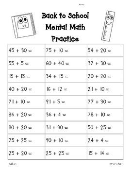back to school mental math addition worksheet 4 little baers teachers pay teachers store. Black Bedroom Furniture Sets. Home Design Ideas