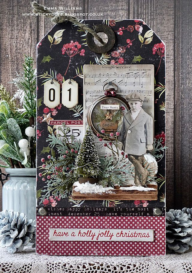 Christmas Countdown Tag created by Emma Williams for the Tim Holtz Holiday Inspiration Series 2017