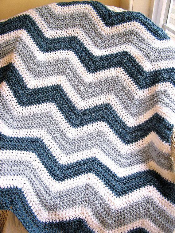 chevron zig zag crochet knit baby toddler afghan blanket wrap lap wheelchair ripple stripes VANNA WHITE yarn silver blue handmade in USA