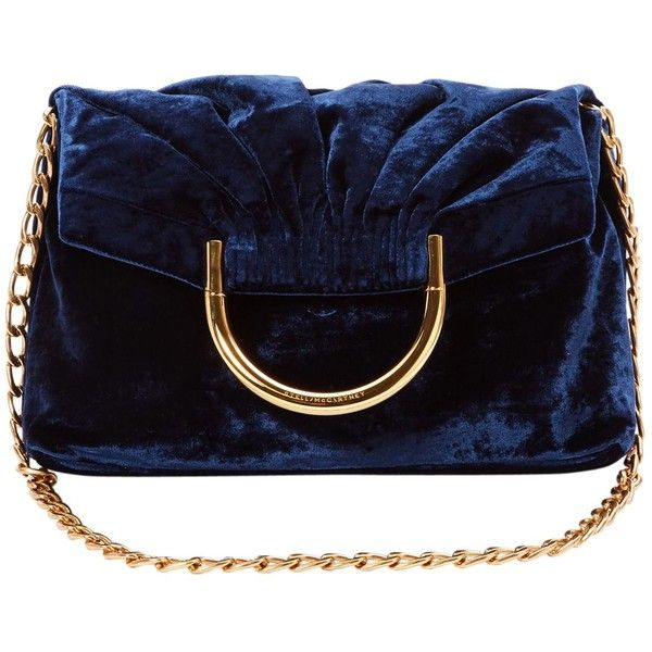 Pre-owned Stella Mc Cartney Velvet Handbag ($892) ❤ liked on Polyvore featuring bags, handbags, shoulder bags, navy, women bags handbags, purse shoulder bag, blue handbags, blue purse, over the shoulder handbags and shoulder handbags