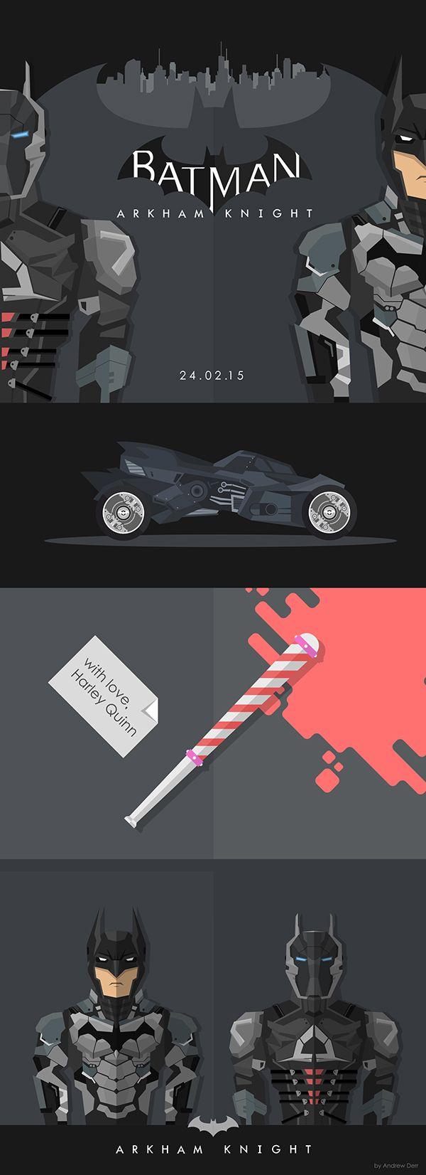 batman arkham knight flat illustration on Behance