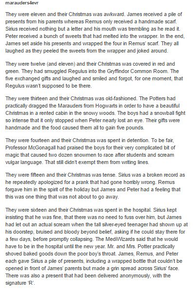 The Marauders and their Christmas part  1