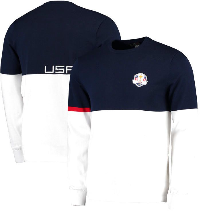 RLX 2016 Ryder Cup Sunday Team Sweater - White/Navy - $197.99