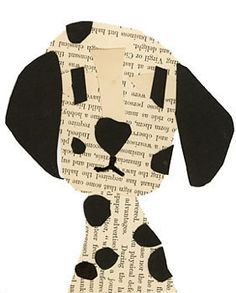 Newspaper and black paper dalmation collage. Super cute; but I'd need fade-proof black construction paper for this to really pop!