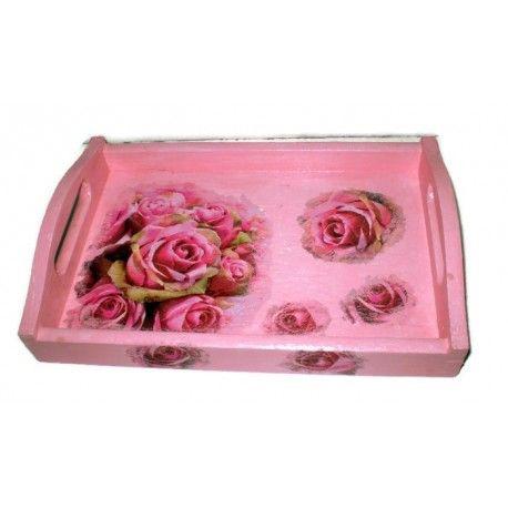Piękna oryginalna drewniana taca malowana ręcznie. Posiada cudowny wzór róże. Sprawi, że podana kawa, herbata czy zwykłe ciasteczka staną się bardziej apetyczne