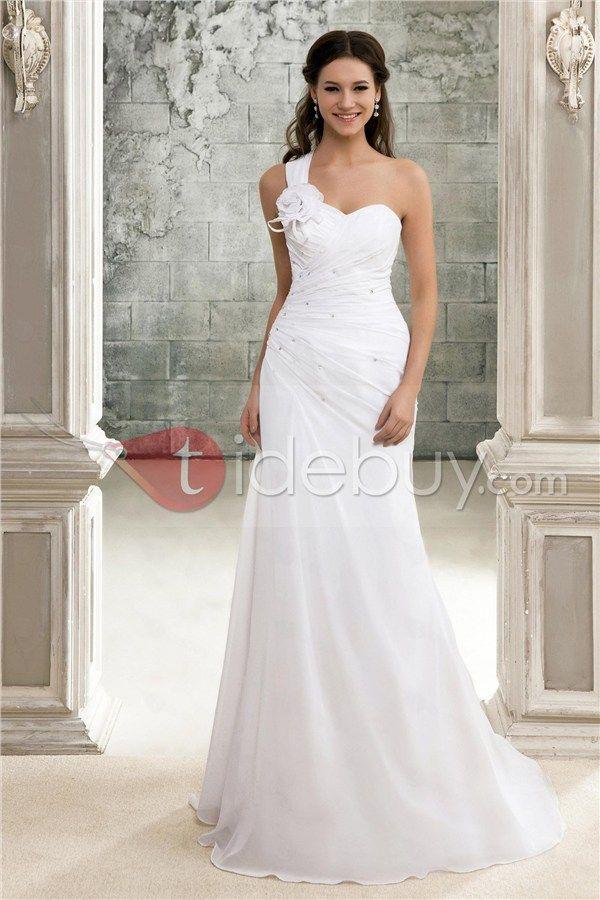 Elegant A-Line One-Shoulder Chapel Train Pleats Sandra's Wedding Dress
