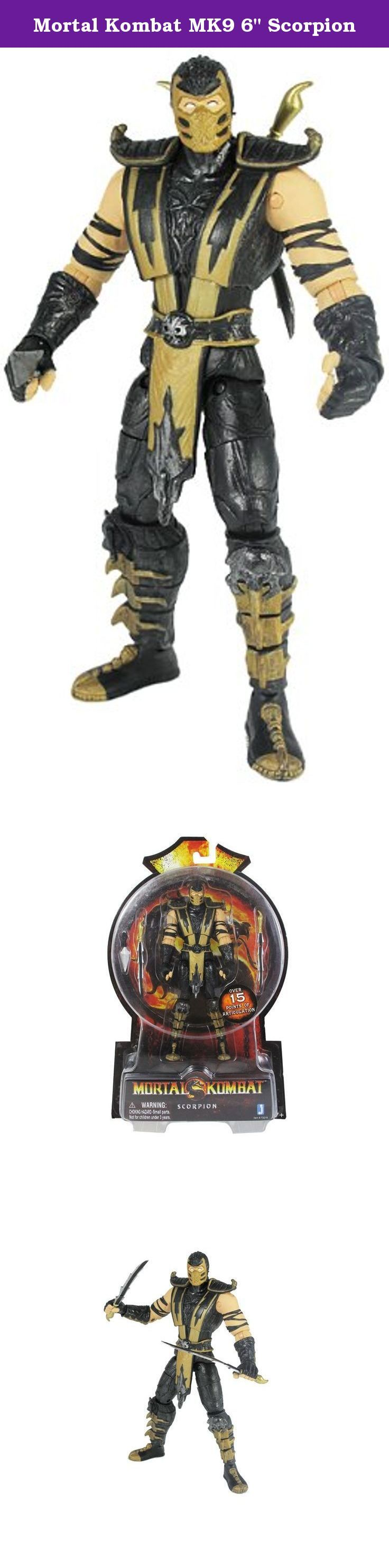 """Mortal Kombat MK9 6"""" Scorpion. Mortal Kombat 9 returns to its roots with these 6-inch tall, fully detailed and articulated action figures of popular characters from previous Mortal Kombat games 1, 2, and 3. Scorpion is arguably one of the most popular characters in the Mortal Kombat series."""
