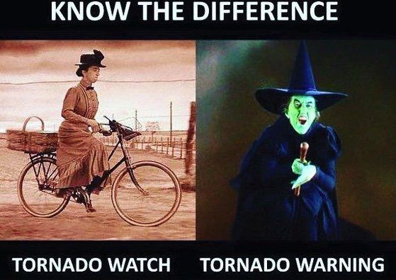 Tornado watch vs warning-Wicked Witch from the Wizard of Oz