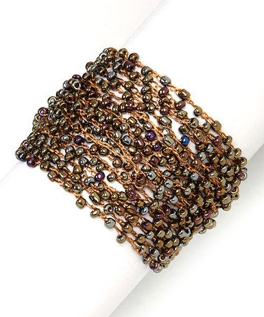 Look at this #zulilyfind! Brown Woven Bead Bracelet #zulilyfinds