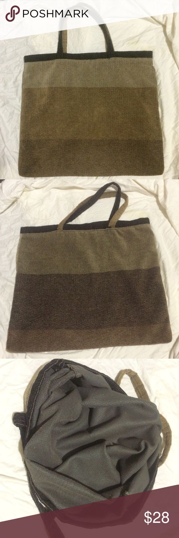 "EXTRA LARGE Tote Bag 24"" across bottom and 22"" top to bottom w/12"" strap drop. This bag will hold it ALL! Material has soft velvet feel. Colors are in neutral Browns and grays. Bags"