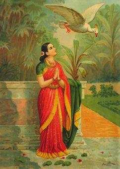ヴァルマーによるナラ王物語に登場するお姫様のナマステ画 美しい意味があり、美しい姿である。