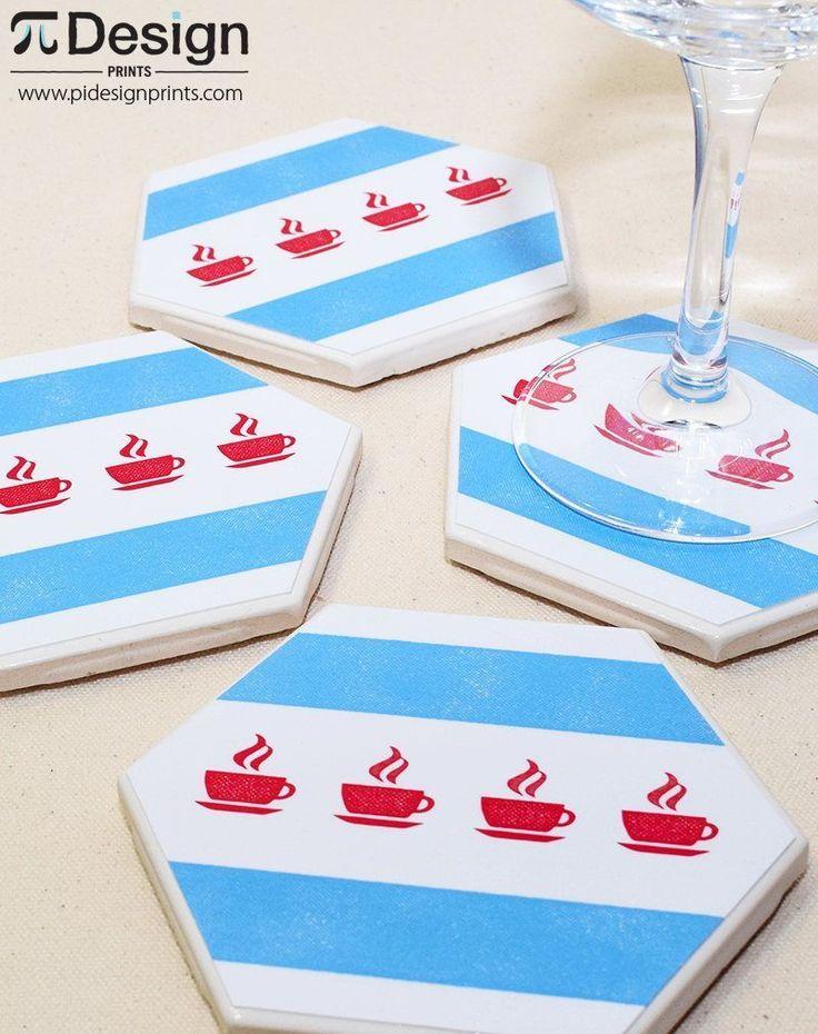 Coffee Mug Chicago Flag Hexagon Coaster | 1 Piece Coaster Set | Coffee Cup Ceramic Tile Coaster | Tea Cup Drink Coaster Set | Chitown Decor by Pi Design Prints on Etsy #coasterfurnitureetsy #coasterfurnituredecor