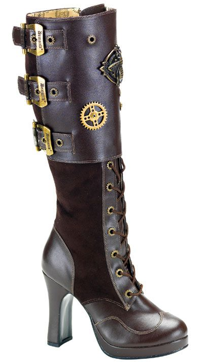 goth gothic fashion shoes boots steampunk with the steam punk wedding dress I found!!