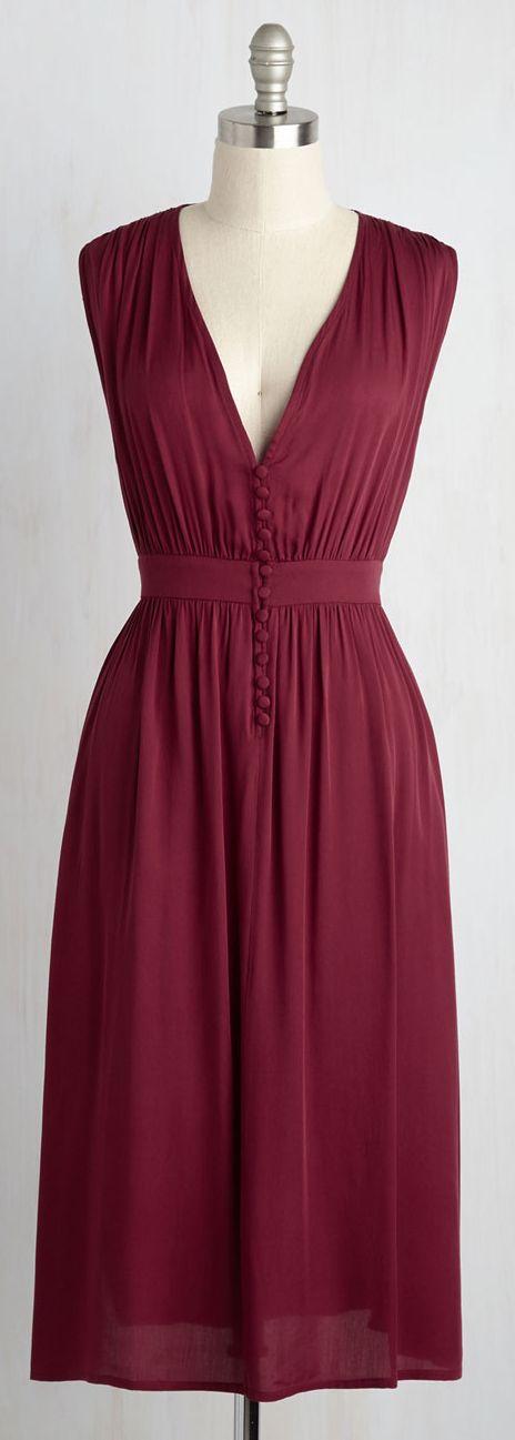 wine red v neck dress