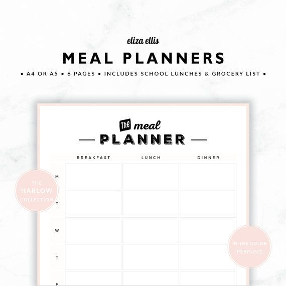 PLANNER ESSENTIALS - MEAL PLANNERS - THE HARLOW PLANNERS IN PERFUME  Youll absolutely love this collection of meal planners! Go with the classic breakfast, lunch and dinner version, or plan dinners only with the fortnightly dinner planner. And all those kids lunches will be a breeze with the school lunch planner!  > SPEND $20 AND GET 20% OFF!!! JUST USE CODE PERFECTPLANNER  > FEATURES  ▪️ spacious design ▪️ space to plan baking and extra cooking :black_small_